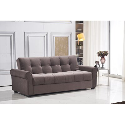 Russell Convertible Sofa Color: Light Brown
