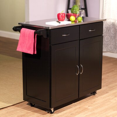 Southerland Large Kitchen Cart with Stainless Steel Top Base Finish: Black