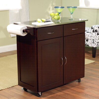 Riffe Large Kitchen Cart with Stainless Steel Top Base Finish: Espresso