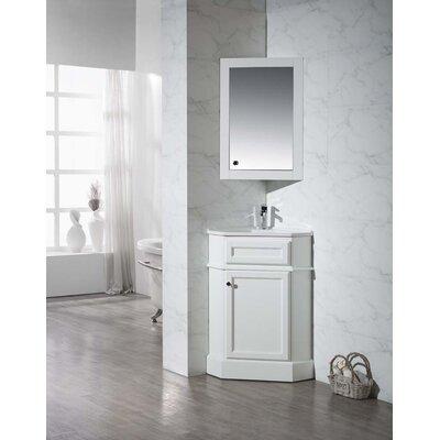 Rocher 26.5 Single Corner Bathroom Vanity Set with Mirror Base Finish: White