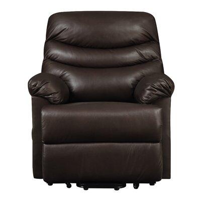 Rockefeller Leather Power Wall Hugger & Lift Recliner Upholstery: Brown