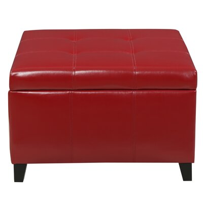 Massey Faux Leather Storage Ottoman Upholstery: Red