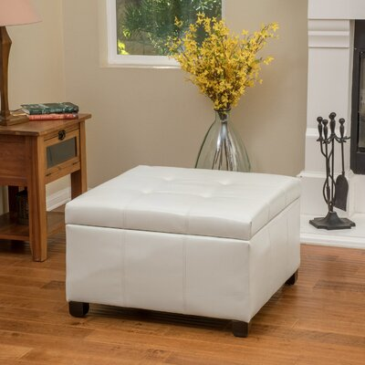 Massey Faux Leather Storage Ottoman Upholstery: Ivory