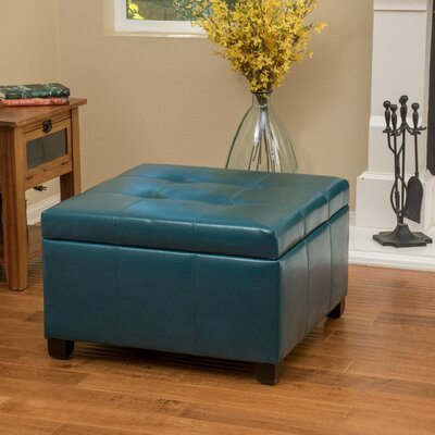 Massey Faux Leather Storage Ottoman Upholstery: Teal