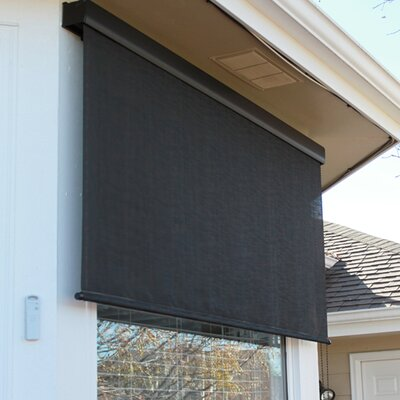 Premium Motorized Outdoor Solar Shade Color: Kona, Size: 120 W x 96 L