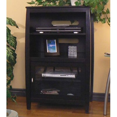 Wood Audio Cabinet With Metal Handles Color: Black