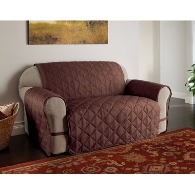 Duvig Box Cushion Loveseat Slipcover Color: Chocolate