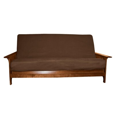 Box Cushion Futon Slipcover Size: Queen, Upholstery: Suede Ebony Black, Futon Mattress Thickness: 6 - 8
