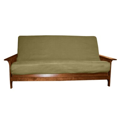 Box Cushion Futon Slipcover Size: Full, Upholstery: Suede Olive Green, Futon Mattress Thickness: 6 - 8