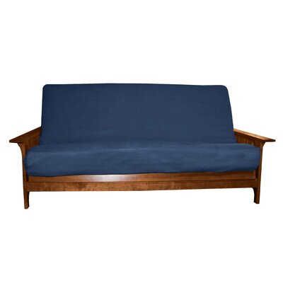 Solid Polyester Futon Slipcover Size: Full, Futon Mattress Thickness: 6 - 8, Upholstery: Suede Dark Blue