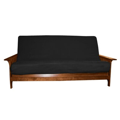 Box Cushion Futon Slipcover Size: Full, Upholstery: Suede Ebony Black, Futon Mattress Thickness: 6 - 8