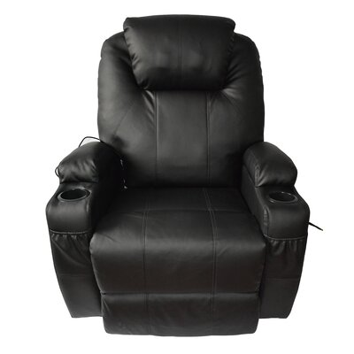 Leather Adjustable Massage Chair Color: Black