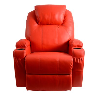 Leather Adjustable Massage Chair Color: Red