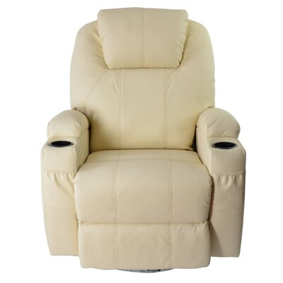Leather Adjustable Massage Chair Color: White