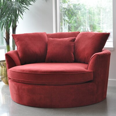 Roquefort Cuddler Barrel Chair Upholstery: Red