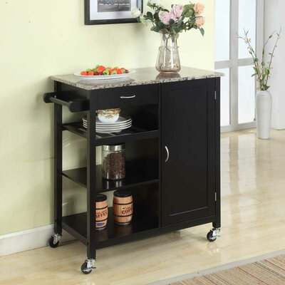 Roselle Kitchen Cart with Faux Marble Top Finish: Black