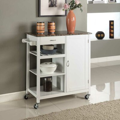 Roselle Kitchen Cart with Faux Marble Top Finish: White