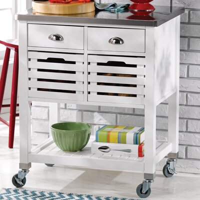 Fulton Kitchen Cart with Stainless Steel Top