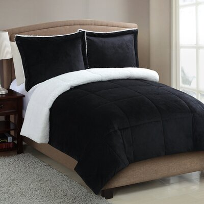 Geneva Micro Mink Sherpa Comforter Set Color: Black, Size: Queen