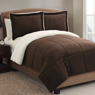Geneva Micro Mink Sherpa Comforter Set Color: Chocolate, Size: Queen