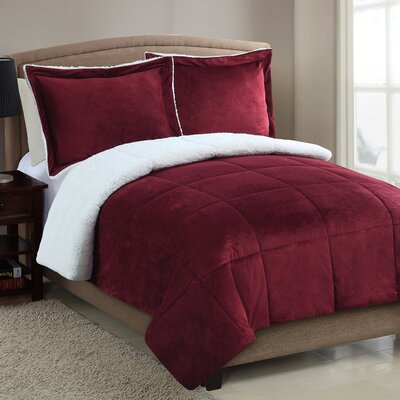 Geneva Micro Mink Sherpa Comforter Set Color: Red, Size: King