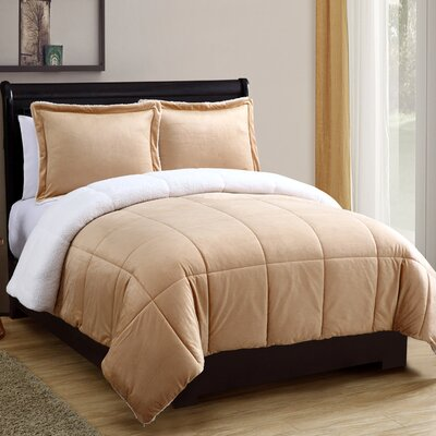 Geneva Micro Mink Sherpa Comforter Set Size: Queen, Color: Camel