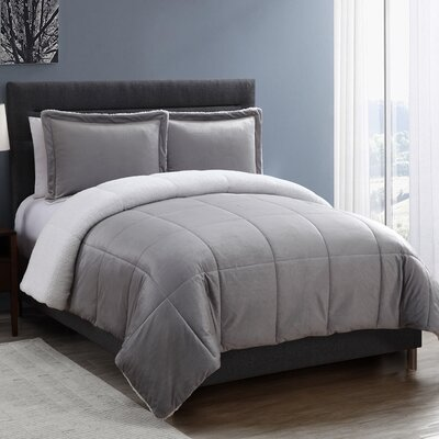 Geneva Micro Mink Sherpa Comforter Set Size: King, Color: Gray
