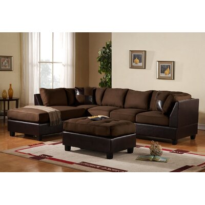 Georgetown Reversible Chaise Sectional Upholstery: Dark Brown