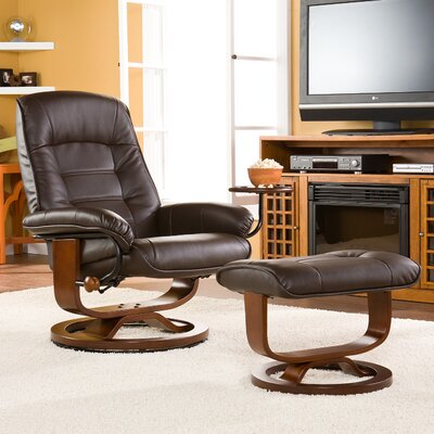 Gibsonburg Ergonomic Recliner & Ottoman Set Upholstery: Cafe Brown