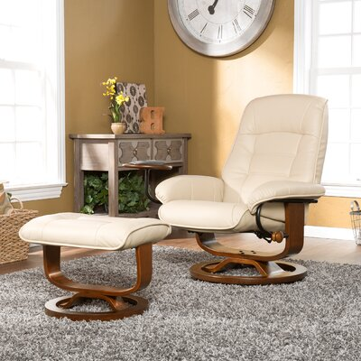 Gibsonburg Ergonomic Manual Swivel Recliner with Ottoman Upholstery: Taupe