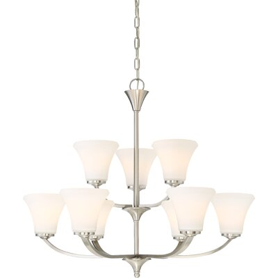 Olsson 9-Light Shaded Chandelier Finish: Brushed Nickel
