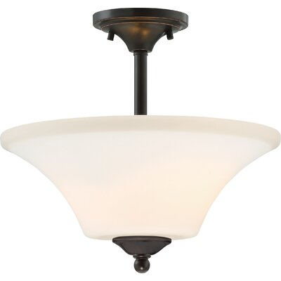 Olsson 2-Light Semi Flush Mount Finish: Mahogany Bronze