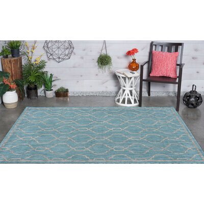 Rhinegeist Transitional Aqua Indoor/Outdoor Area Rug Rug Size: 53 x 73