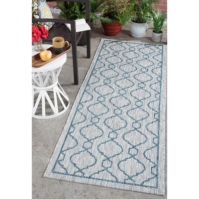 Ford Transitional Teal Indoor/Outdoor Area Rug Rug Size: Runner 27 x 73