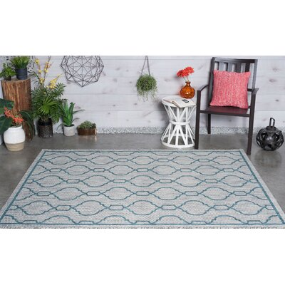 Ford Transitional Teal Indoor/Outdoor Area Rug Rug Size: 53 x 73
