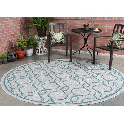 Rhinegeist Transitional Teal Indoor/Outdoor Area Rug Rug Size: Round 710