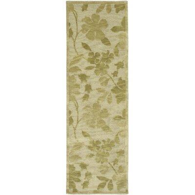 Athena Beige/Green Floral Area Rug Rug Size: Runner 26 x 10