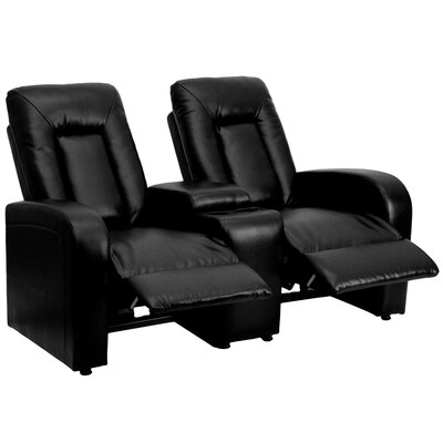 Leather 2 Seat Home Theater Recliner with Storage Console Upholstery: Black