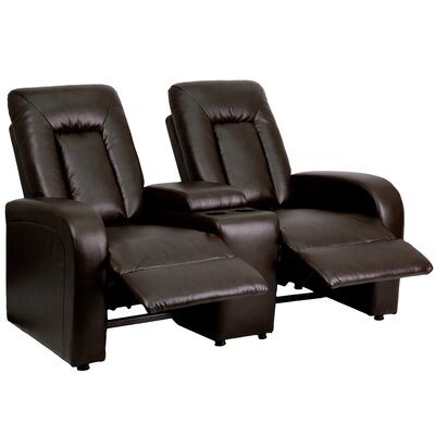 Leather 2 Seat Home Theater Recliner with Storage Console Upholstery: Brown