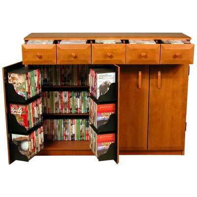 Multimedia Cabinet with Library Style Drawers Color: Cherry and Black