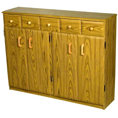 Multimedia Cabinet with Library Style Drawers Finish: Oak and Black