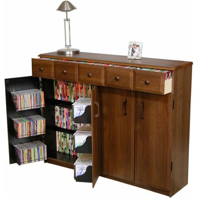 Multimedia Cabinet with Library Style Drawers Color: Dark Walnut and Black
