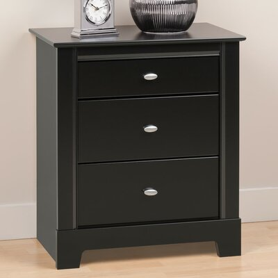 Belgium Black 3 Drawer Nightstand