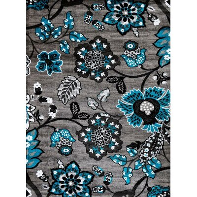 Chapman Turquoise/Gray Indoor/Outdoor Area Rug Rug Size: 5 x 7