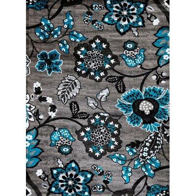 Chapman Turquoise/Gray Indoor/Outdoor Area Rug Rug Size: 5 x 7