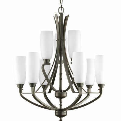 Charleston 9-Light Shaded Chandelier Finish: Antique Bronze