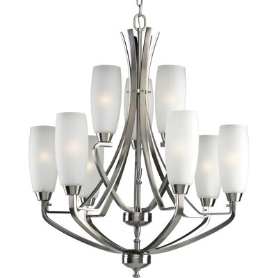 Charleston 9-Light Shaded Chandelier Finish: Brushed Nickel