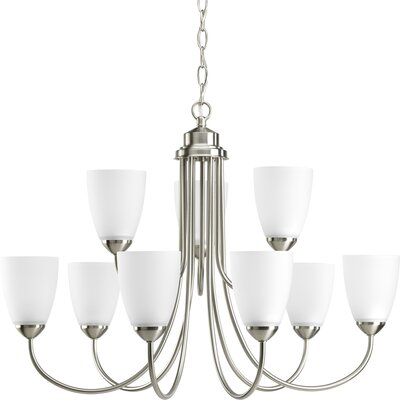 Charlottesville 9-Light Shaded Chandelier Finish: Brushed Nickel