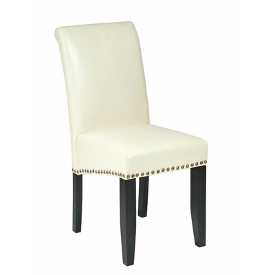 Chesterhill Genuine Leather Upholstered Dining Chair Upholstery: Cream