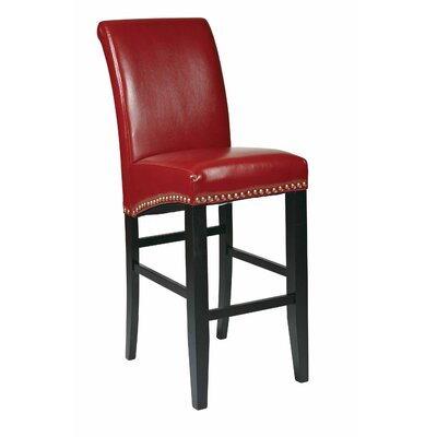 Chesterhill 30 inch Bar Stool with Cushion Upholstery: Crimson Red